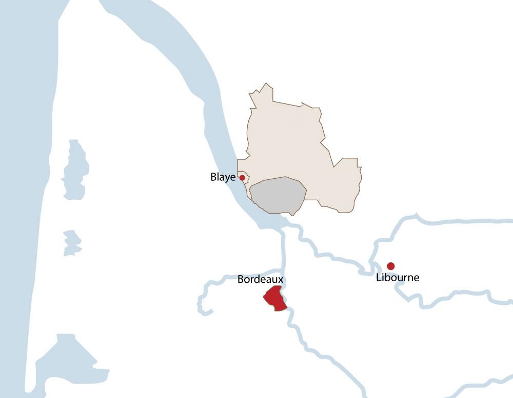 carte appellation-côtes de bourg-côte de blaye